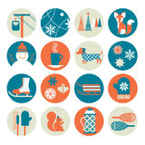 Winter activity icon set Royalty Free Stock Photo