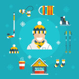 Winter Activity Set Icons with Man in Warm Cloth Royalty Free Stock Images