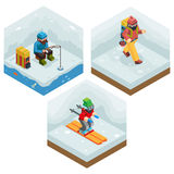 Winter Activity Vacation Icons Set Journey Ski Ice Stock Photos