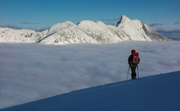 Winter adventure above the cloud Stock Image