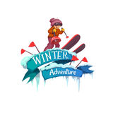 Winter Adventure banner with ribbon and ski Royalty Free Stock Photo