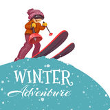 Winter Adventure poster with skier girl. Vector Royalty Free Stock Images