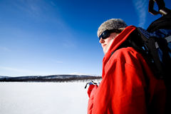Winter Adventure Ski. A female on a winter adventure trip in the mountains Royalty Free Stock Image