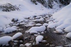 Winter adventures. Creek in the snow. Carpathians. Ukraine. royalty free stock photos