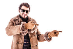 Winter advertising guy Royalty Free Stock Images