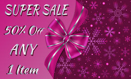 Winter advertising sale card decorated with big violet bow and silver stripes, dark violet background with snowflakes  Royalty Free Stock Photography