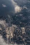 Winter aerial cityscape of Moscow district Stock Photos