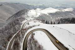 Winter aerial view above Transalpina mountainb road stock image