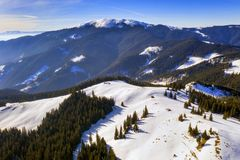Winter aerial landscape in Carpathians stock photo