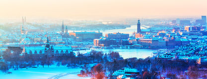 Winter aerial panorama of Stockholm, Sweden. Scenic winter aerial panorama of the Old Town Gamla Stan architecture in Stockholm, Sweden Stock Image