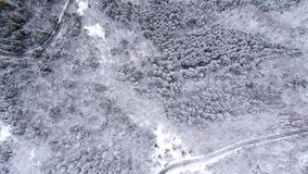 Snowy Mountain Forest. Winter Aerial Shot Of Snowy Mountain Forest  With Roads High Attitude Stock Images