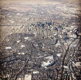 Winter aerial view of Calgary Alberta Stock Photos