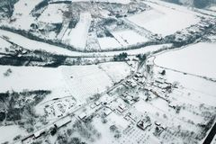 Winter Aerial view over the small village. Small village Aerial Stock Photos