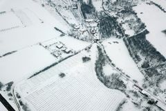 Winter Aerial view over the small village. Small village Aerial Royalty Free Stock Photography