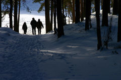 Winter airing. Family of three in stroll through the forest Stock Photo