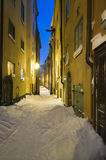Winter alley evening Stockholm Royalty Free Stock Photos