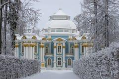 Winter alley and the pavilion Hermitage. Tsarskoye Selo Stock Image