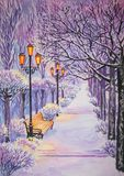 Winter alley in the snow with lights and trees. Winter alley in the snow with lights, bench and trees in twilight. gouache stock illustration