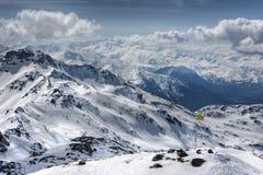 Winter-Alpenlandschaft vom Skiort Val Thorens Lizenzfreie Stockfotografie