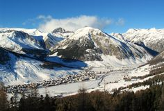 Winter in alpes. Winter holiday in Livigno, Italy Royalty Free Stock Images