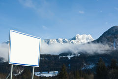The winter Alpes. An empty signboard Stock Image