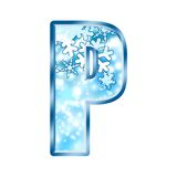 Winter Alphabet letter P Stock Photo