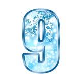 Winter Alphabet Number 9 nine Stock Photo
