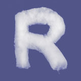 Winter alphabet, symbols made from cottonwool. Blue background isolated.All Letters. High resolution. Stock Photo