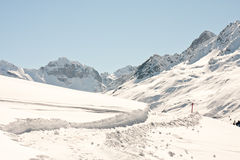 Winter alpine hiking path Royalty Free Stock Images