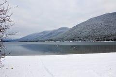 Winter Alpine Lake. Alpine mountains photographed at kootenay lake near Nelson BC, Canada Stock Photography