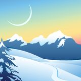 Winter alpine landscape. Frosty Christmas morning in the mountains Royalty Free Stock Photography