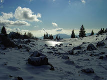Winter Alpine landscape. Alpine landscape with a small lake, snow, rocks and trees Royalty Free Stock Photography