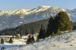 Winter alpine scenery in Fundata, Brasov, Romania Royalty Free Stock Photos