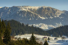 Winter alpine scenery in Fundata, Brasov, Romania Royalty Free Stock Images