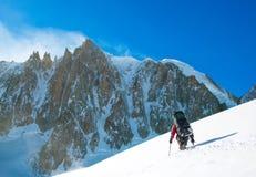Winter alpine trekking. France, Chamonix Royalty Free Stock Image