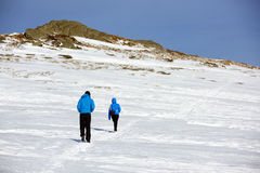 Winter alpine trekking Royalty Free Stock Images