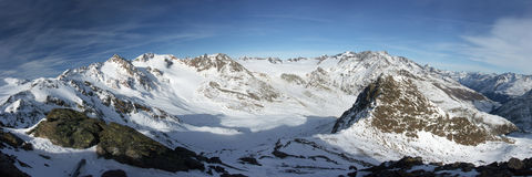Winter alps. Panorama view of winter Alps Stock Photos