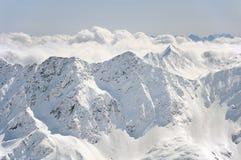 Winter Alps. Landscape of winter Alps seen from ski track of Solden resort, Austria Stock Image
