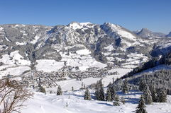 Winter in the Alps. View over Bad Hindelang in the Alps Royalty Free Stock Images
