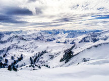 Winter in the Alps. Austrian Alps Voralberg as seen from a high skislope, Damuls , Austria Royalty Free Stock Photography