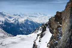 Winter Alps landscape from ski resort Val Thorens Royalty Free Stock Images