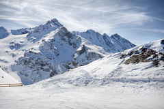 Winter Alps landscape from ski resort Val Thorens. 3 valleys royalty free stock photography