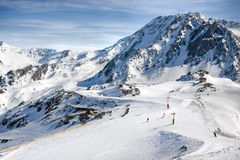Winter Alps landscape from ski resort Val Thorens. 3 valleys stock photos