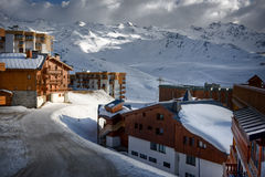 Winter Alps landscape from ski resort Val Thorens. France royalty free stock images