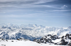 Winter Alps landscape from ski resort Val Thorens. 3 valleys royalty free stock photos