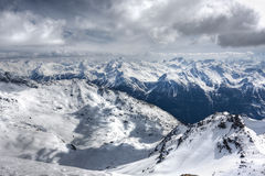 Winter Alps landscape from ski resort Val Thorens. 3 valleys royalty free stock images