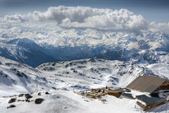 Winter Alps landscape from ski resort Val Thorens Stock Photography