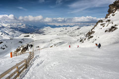 Winter Alps landscape from ski resort Val Thorens. 3 valleys royalty free stock photo