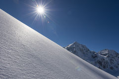 Winter in the alps. Winter snow landscape and perfect weather Royalty Free Stock Image