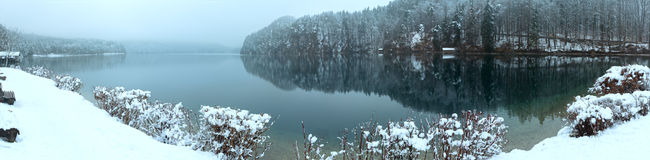 Winter Alpsee lake panorama Stock Photo